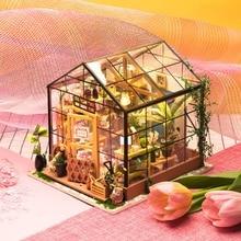 Robotime DIY Wooden Miniature Dollhouse Assembly Doll House Model Building Kits Toys For Children DG104 Kathys Green Garden