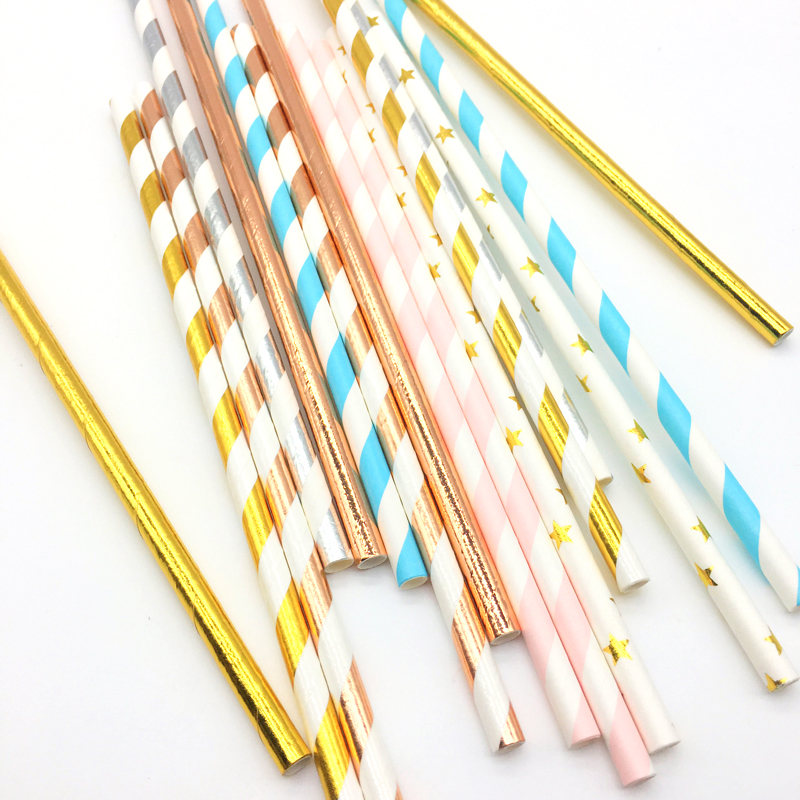 25pcs Rose Gold Foil Stripe Paper Straws Star Disposable Drinking Straws for Wedding birthday party decorations kids in Disposable Party Tableware from Home Garden