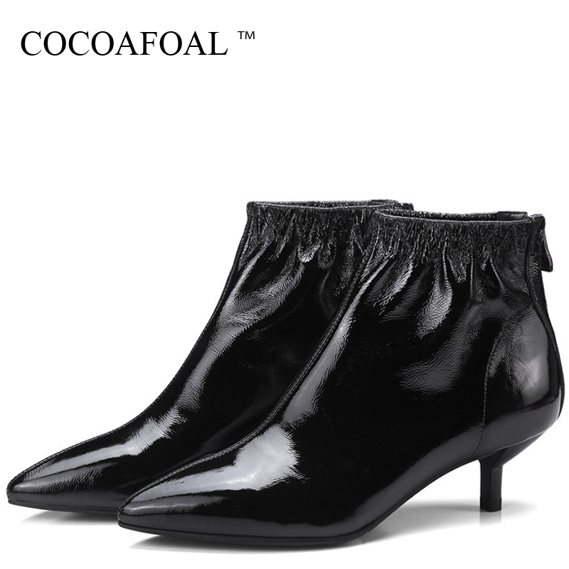 COCOAFOAL Winter Women's Genuine Leather Ankle Boots Black Silvery Chelsea Boots Black Red Pointed Toe Fashion Sexy Woman Shoes ручка galant locarno silvery black 141667