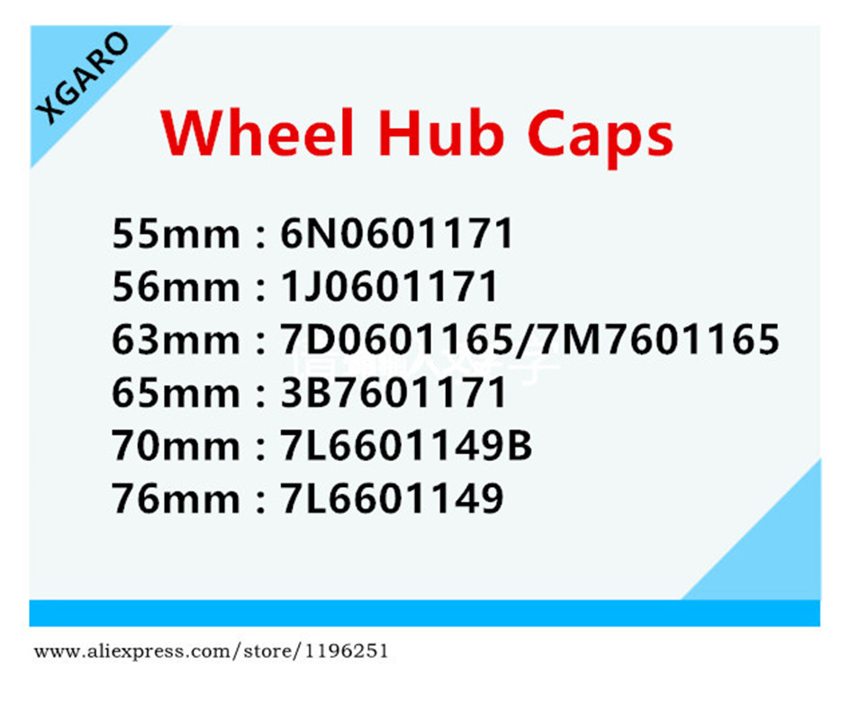 100X55mm 56mm 60mm 63mm 65mm 70mm 76mm Wheel Center Hub Caps Logo Badge Emblems Mk5 3B7601171