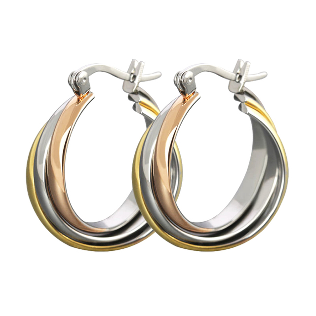 Hot Selling Rose Gold Color Titanium Hoop Earrings for Women
