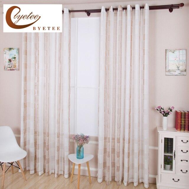 byetee transparant wit plaid katoen en linnen gordijn woonkamer gordijn balkon venster gordijnen custom