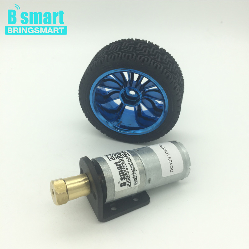 Bringsmart 370 12V Electric Motor Reduction Gearbox Gear Motor Low rpm DC Motor With Wheel High Torque For DIY Car Use