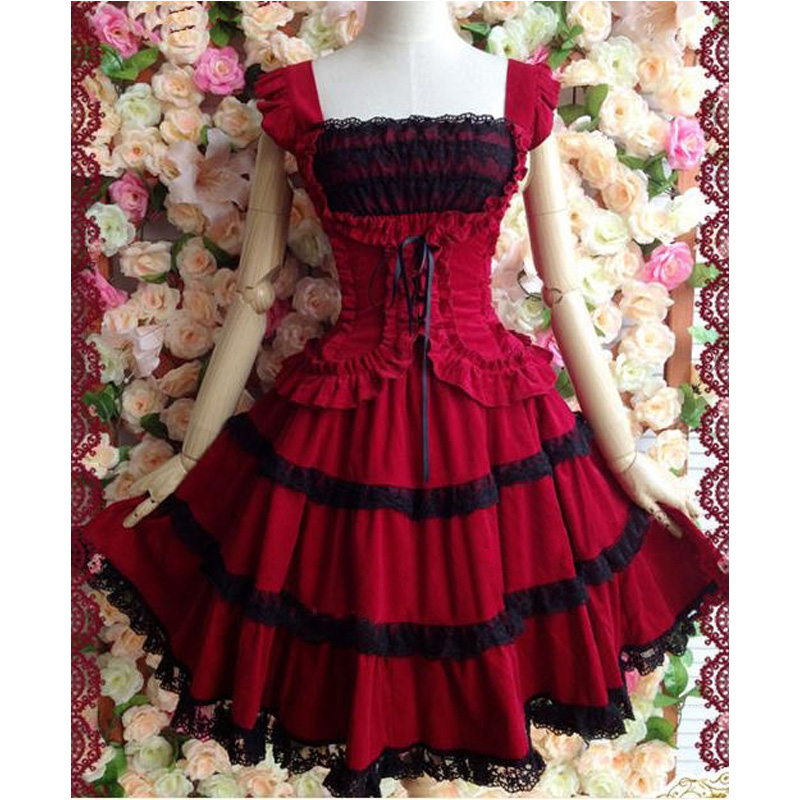 Lace Slim Princess Gothic Lolita Dress Custom Made Plus Size L22