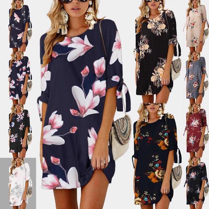 best sneakers 116a1 f2f4a 2019 weibliche Sommer Floral Print Casual Kleider Halbe Hülse Schwarz Grau  Weiß Mini Kleid Frauen Kleidung Plus Größe 5XL Lose kleid