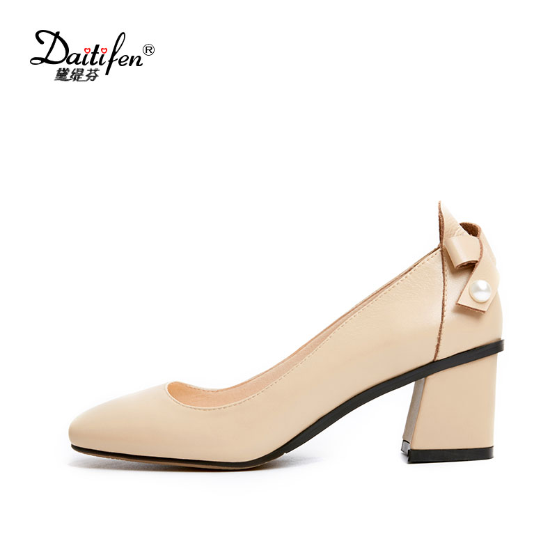 Women Spring Pumps Shallow Slip-on Working Shoes Sweet Bowtie Genuine Leather Square Toe Med High Heels Manual Female Shoes women genuine leather slip on pointed toe lazy shoes sweet bow knot shallow party spring autumn women pumps black pink