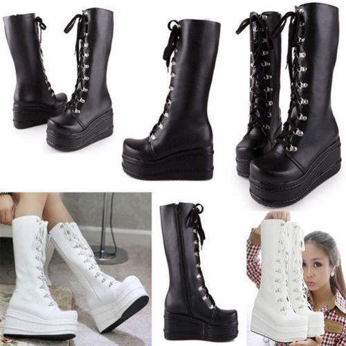 f72624dbbc00 Women's Tall Calf Knee High Lace Ups Platform Goth Punk Pantshoes Combat  Boots