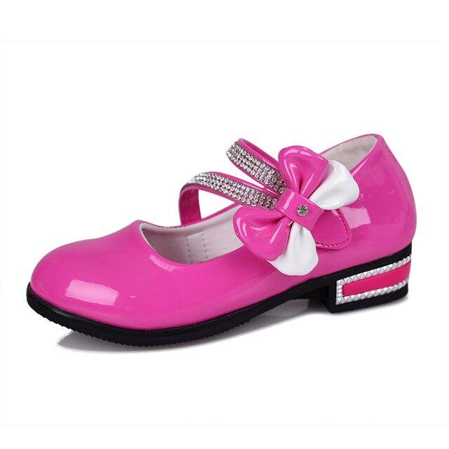 As Meninas PU Sapatos de Couro Princesa Arco Sapatos Meninas Quentes vestido Chaussure Fille Enfant 2016 Moda Sapatas Dos Miúdos Para A Menina partido