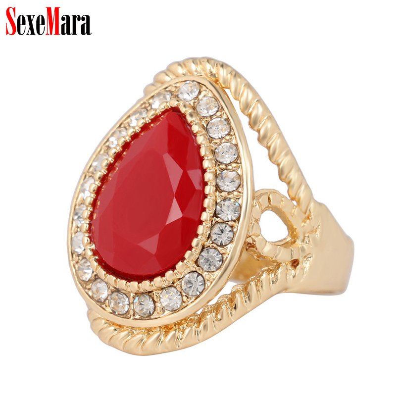 SexeMara Women Ring Luxury Big Rhinestone Alloy Plated Gold Inlay Water Drop Red Green Black Blue Resin Finger Rings for Ladies