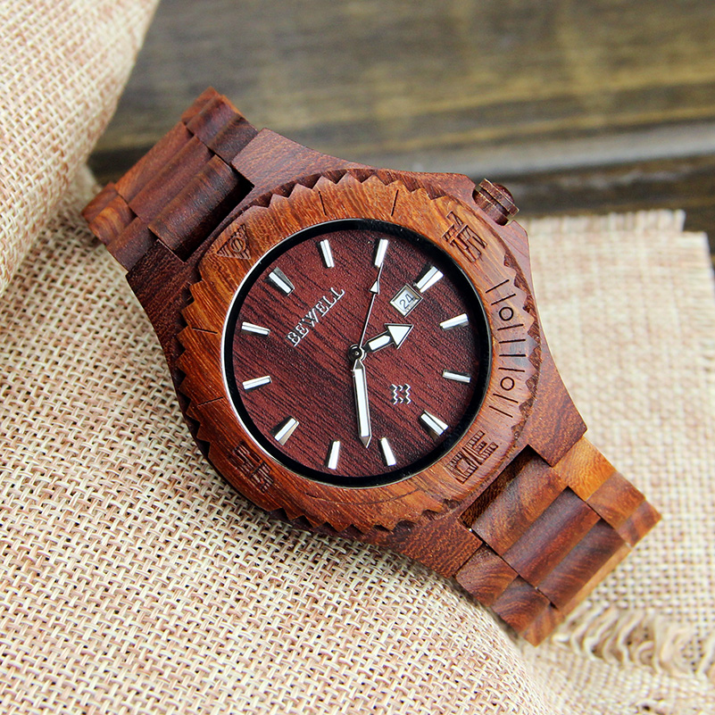 Wood Wrist Watches Men 2017 Top Brand Luxury Famous Male Clock Quartz Watch with Date Display Quartz-watch Relogio Masculino fashion male watches men top famous brand gold wrist watch leather band quartz casual big dial clock relogio masculino hodinky36