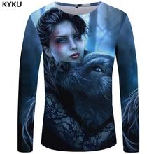 KYKU Wolf T shirt Men Long sleeve Beauty Streetwear Animal 3d T-shirt New Rock Hip hop Graphic Mens Clothing Casual Man
