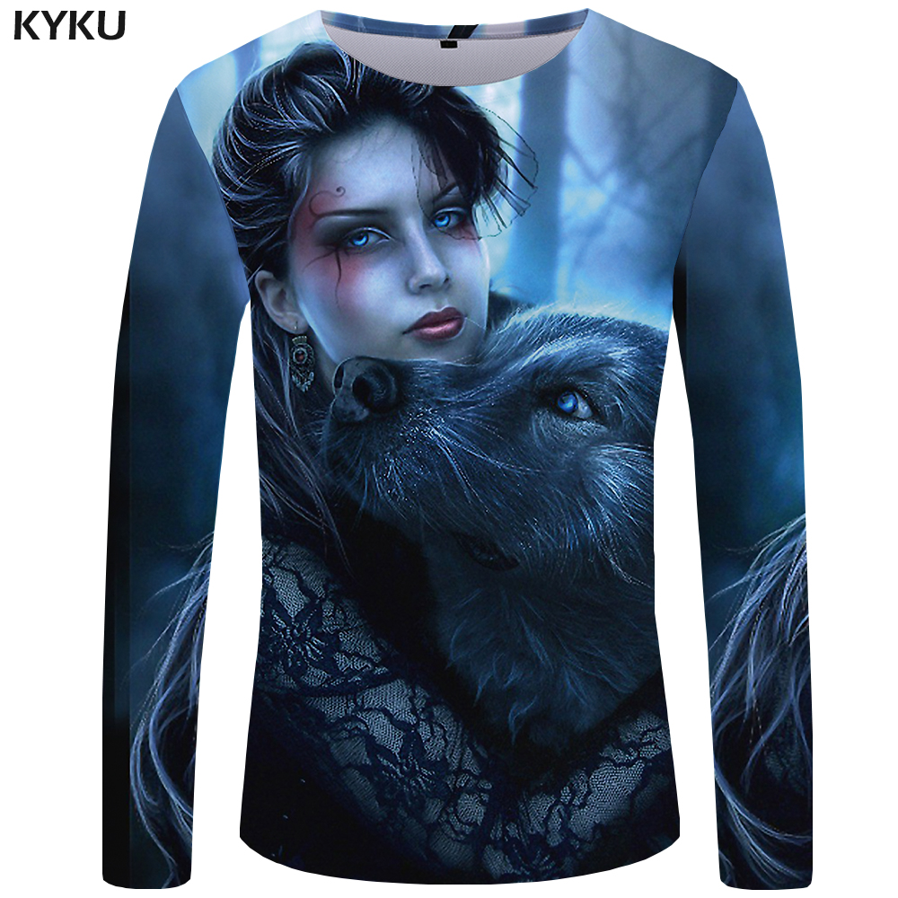 KYKU Wolf   T     shirt   Men Long sleeve   shirt   Beauty Streetwear Animal 3d   T  -  shirt   New Rock Hip hop Graphic Mens Clothing Casual Man