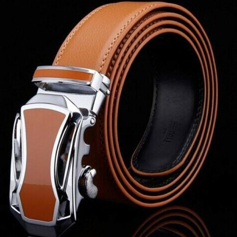 Mens Designer Leather Belt With Sliding Ratchet Automatic Buckle Holeless