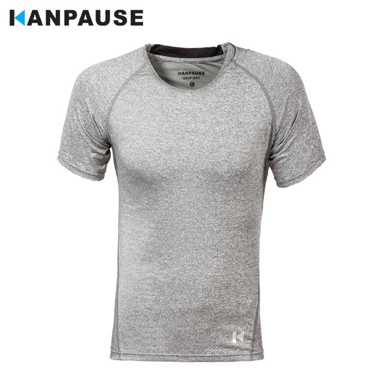 새로운 도착 KANPAUSE 남성 꽉 짧은 소매 훈련 운동 티셔츠 실행 스포츠