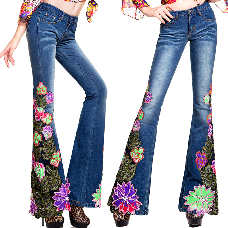 Autumn winter womens fashion embroidered flower beads bell