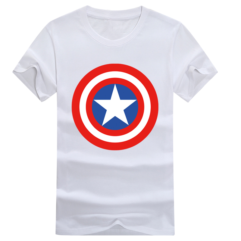 The Avengers Captain America Shield Printed Short Sleeve T-shirt Cosplay Costume Summer Fashion Daily Casual Cotton Tee Shirts