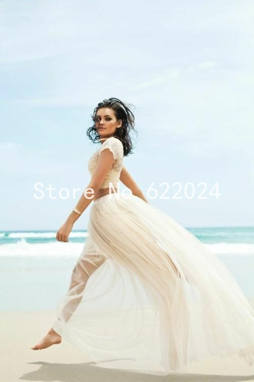 2017 Two Piece Wedding Dress With Cap Sleeve Illusion Neckline Y Lace Beach Gowns Champagne Bridal Dresses Hot Hh822 In From