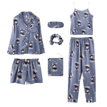 Cartoon Bunny 8 Piece/Set Women Pajamas Set Rayon Silk Spring Pyjamas Female Robe Shorts Shirt Stitch Lingerie 2019 Sleepwear