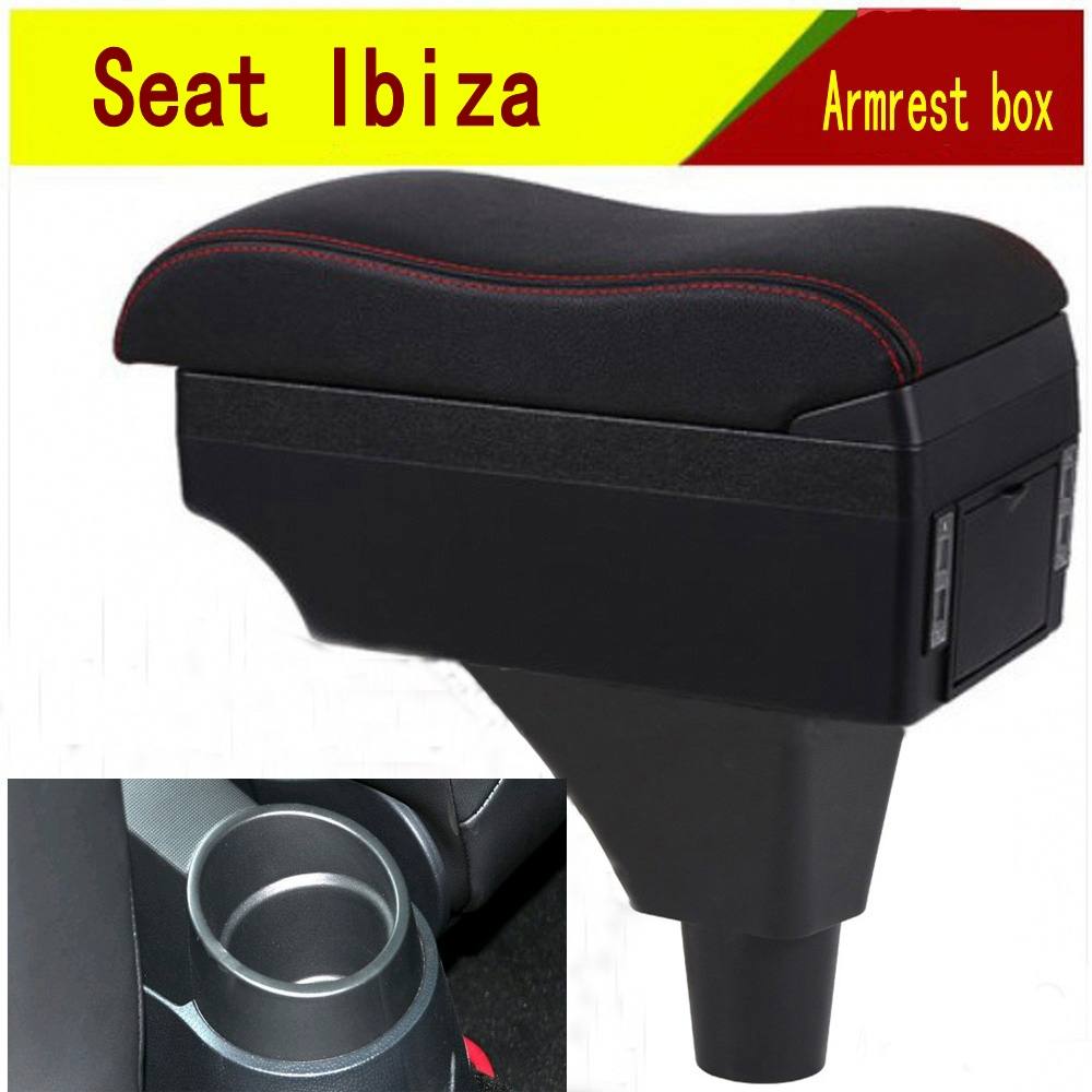For Seat ibiza armrest box central Store content Storage box armrest box with cup holder ashtray USB interface