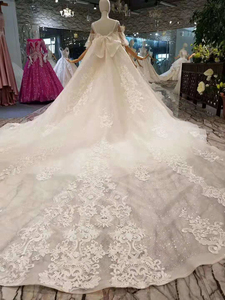 Image 2 - LSS402 detachable train wedding dresses with big bow spaghetti straps wedding gown with removable train back платье винтаж