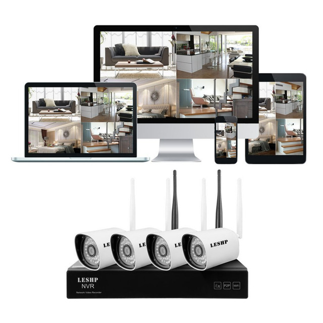 4CH WIFI NVR with 4 PCS WIFI IP Camera Surveillance System 1Mega for Outdoor Security Support Post Alarm Motion Detection