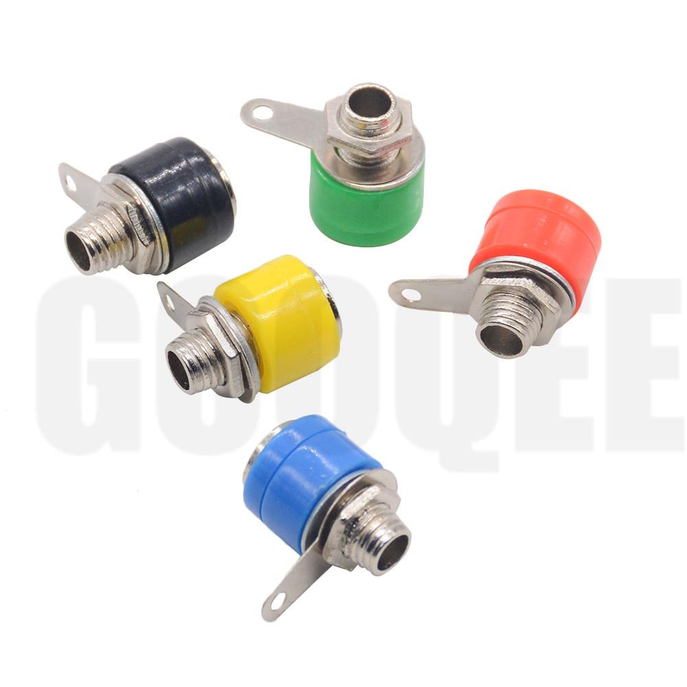 5pcs/lot 4mm Banana Binding Post 4mm Banana Socket Plug Adapter DIY Red Green Yellow Black Blue