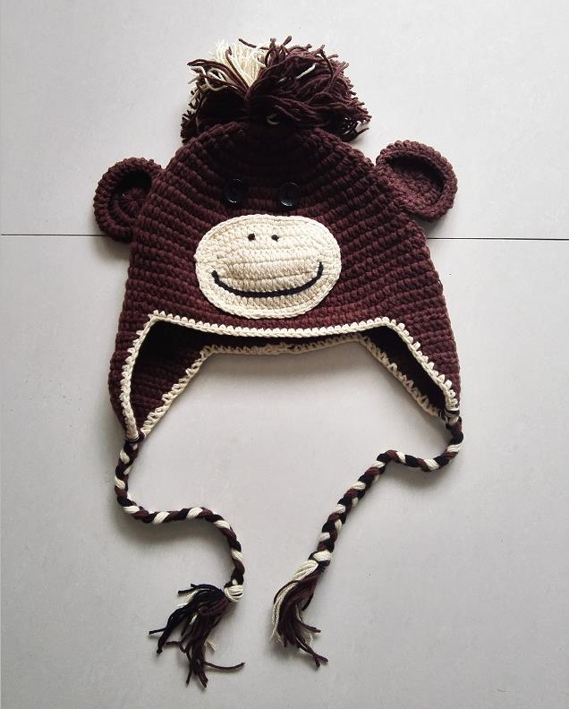 Handmade Knitted Crochet Monkey Hat With Ear Flap Animal Cap Beanie