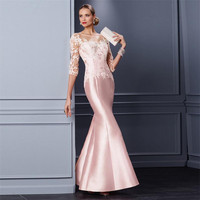 Elegant Mermaid Pink Mother Of The Bride Dresses 2017 Three Quarter Sleeve Satin Applique Beading Party