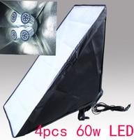 4PCS 60W LED 50x70cm Photographic Equipment Photo Studio Soft Box Kit Video Four Capped Lamp Holder