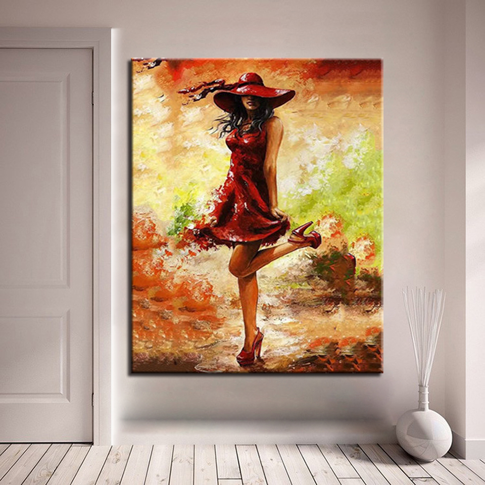 Fashion Cuadros Picture For Home Decor Red Skirt Beauty Frame DIY By ...