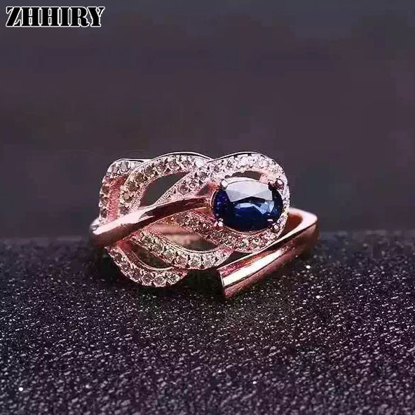 Women Natural Sapphire Stone Ring Genuine Solid Silver Gems Jewelry Leaf Shape Rings Birthstone