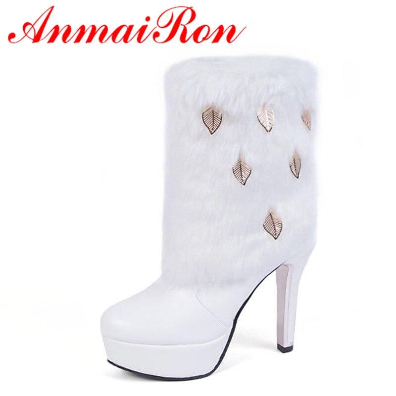 ANMAIRON New Fashion White Shoes Woman Winter Mid-calf Boots High Heels Snow Boots Large Size 34-43 Platform Shoes Round Toe метеостанция vitek vt 6402bk