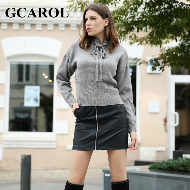 GCAROL Euro Style Criss-Cross V Neck Women Sweater Autumn Winter Tie Up  Knitted Pullover 75c9267db