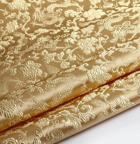 Платье для костюма, 75 см * 100 см, тканевая ткань, платье для свадебной вечеринки, парчовая ткань, светло-золотой фон с драконом, опт