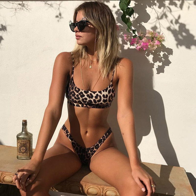 Leopard Thong Swimsuit Women <font><b>2019</b></font> Sexy <font><b>Bikini</b></font> Set Print Push up Swimwear Female Brazilian <font><b>Bikini</b></font> Set Biquini Bathing Suit image