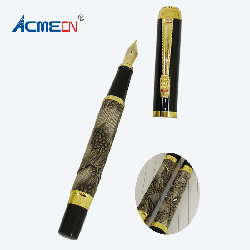 ACMECN Ink refill Fountain Pen Stainless Steel Liquid Black ink Pen Dragon Style Clip Office Luxury Retro ink Convert Pen dip pen retro chinese style gold dipped black bamboo xiangfei zhu pen traditional ink natural