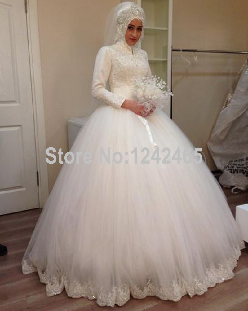 Luxurious Gold Sequins Long Sleeves Chapel Arabic Muslim Wedding Dress muslim wedding dresses Luxurious Gold Sequins Long Sleeves Chapel Arabic Muslim Wedding Dress