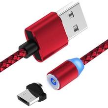 360 度磁気 LED USB 編組充電ケーブル iphone サムスン銀河 A40 A50 A70 mi 9T 赤 mi 7A Huawei コードワイヤー