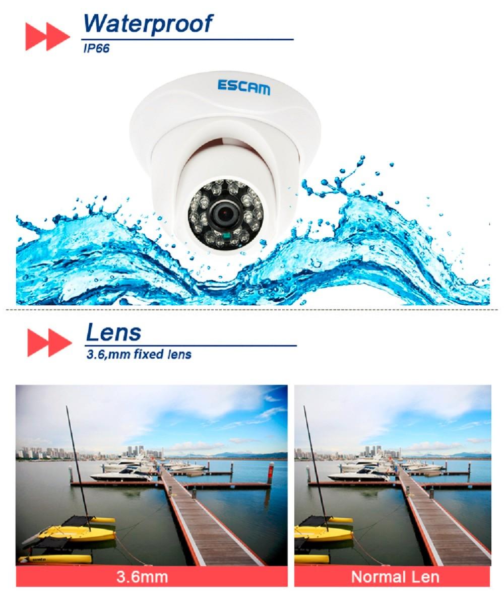 ESCAM Snail QD500 Waterproof Dome IP Camera CCTV 14 Inch 1MP CMOS 720P (2)