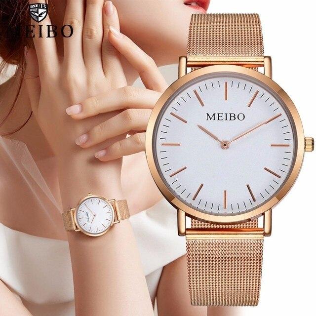נשים נירוסטה פשוט שעון יוקרה גבירותיי קוורץ שעוני יד MEIBO מותג שעון עבור Dropshipping