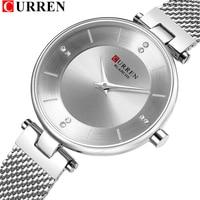 CURREN Womens Watches Slim Fashion Quartz Diamond Watch With Stainless Steel Mesh Strap 9031 Female Clock Relogio Feminino