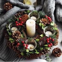 Рождественские подсвечники сосновый конус ягоды лесной деревенский Рождественский Декор стол центральный Рождественский венок с четырьмя Подсвечниками