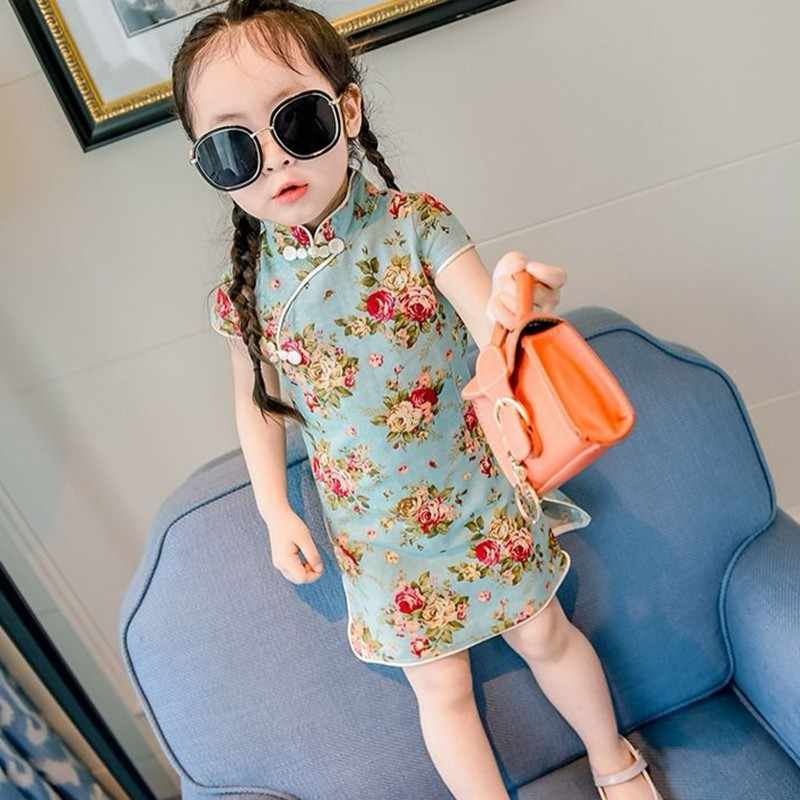 Vestido de princesa Cheongsam chino, vestido de verano para niñas, ropa sin mangas para niños, estampado de algodón, flores, Princesa, bonito y dulce