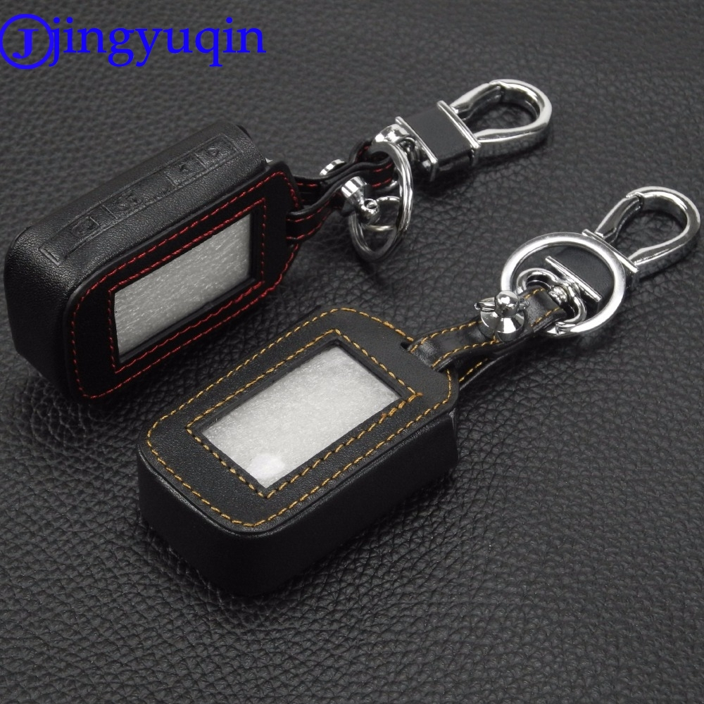 jingyuqin 4 Buttons Remote Leather Key Cover Case Key Chain For Starline E60 E61 E62 E90 E91 2 Way Car Alarm System Remote starline b64 2 can slave