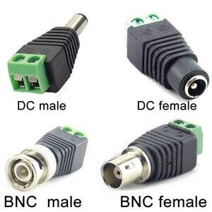 Image 1 - 2/5/10 pces 12v dc bnc macho fêmea conector coax cat5 para bnc plugue fêmea para luzes de tira led vídeo balun cctv câmera acessórios
