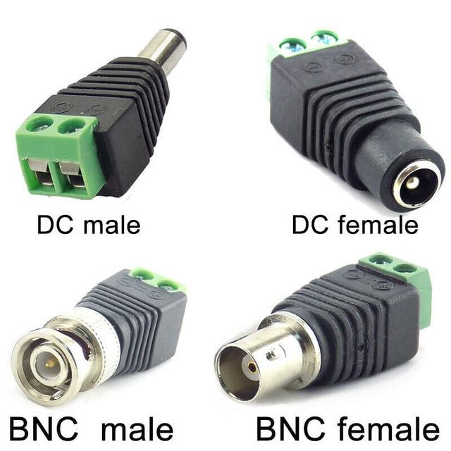 2/5/10 pces 12v dc bnc macho fêmea conector coax cat5 para bnc plugue fêmea para luzes de tira led vídeo balun cctv câmera acessórios