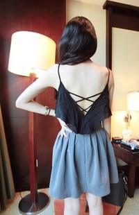 Missyan normic all-match fashion beautiful strap racerback sleeve ruffle spaghetti strap small vest 8111a