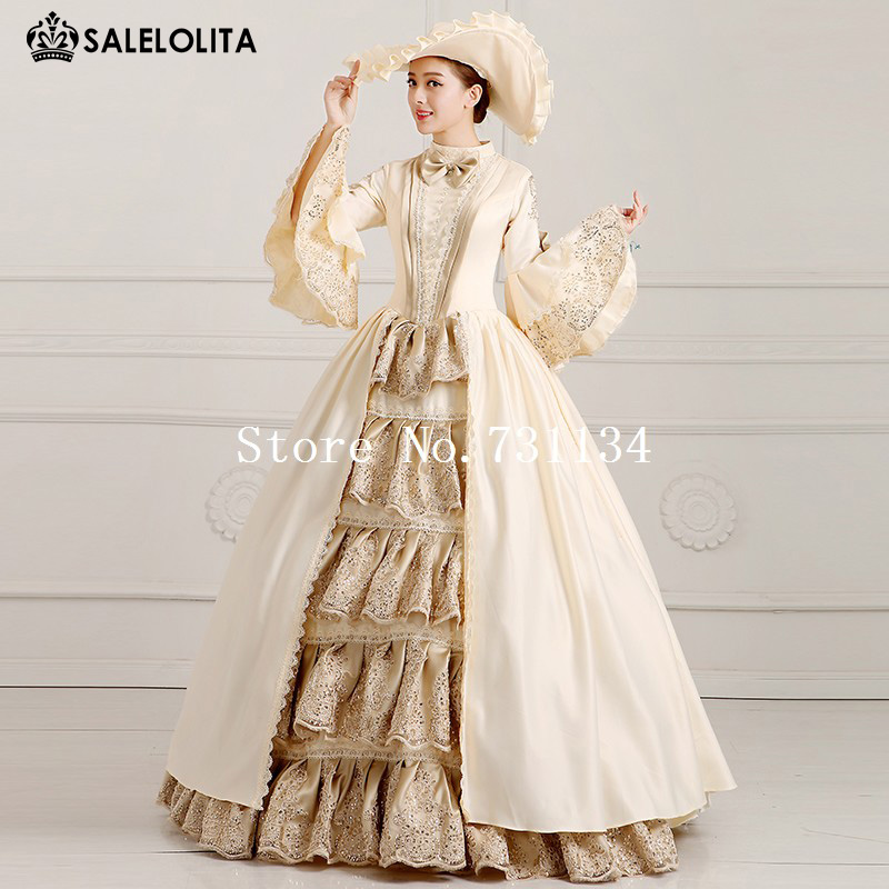 2019 Elegant Champagne Palace Dress Female Stage Performance Dress Victorian Period Marie Antoinette Dress Costume