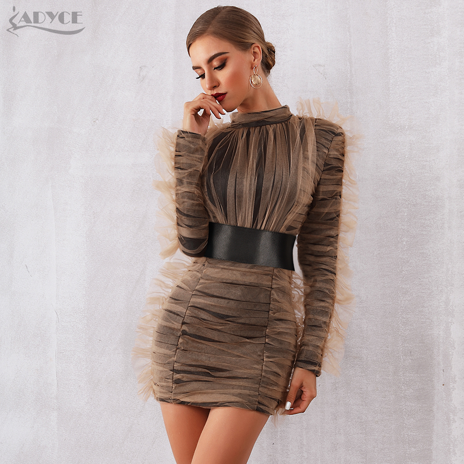 Adyce 2019 New Arrival Women Winter Celebrity Evening Runway Party Dress Sexy Lace Long Sleeve Mini