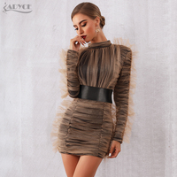 Женское короткое вечернее платье ADYCE, черное платье-чехол, драпированное органзой песочного цвета, с длинным рукавом, в стиле звезд, для поди...